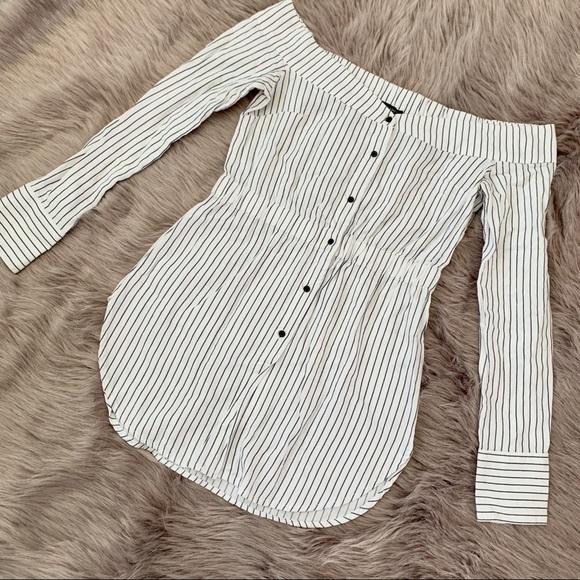 DYNAMITE | Off Shoulder Striped Blouse